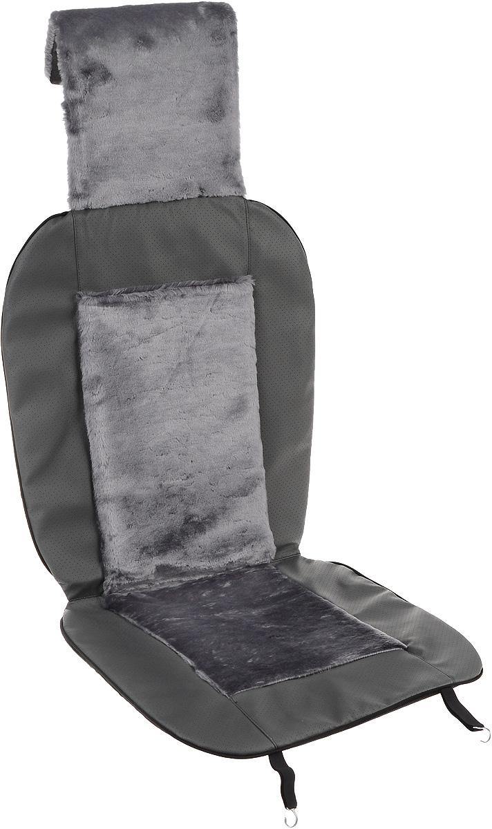 Накидка на сиденье автомобиля Auto Premiumст18фНакидка на сиденье автомобиля Auto Premium - это стильное и практичное решение для салона автомобиля. Накидка изготовлена из экокожи и искусственного меха. Экокожа обеспечит долговечность использования накидки, а искусственный мех сделает сиденье автомобиля еще более комфортным. Накидка легко надевается и плотно закрепляется на сиденье с помощью карабинов и крючков. Не мешает Airbag. Долговечная и в то же время теплая накидка в ваш автомобиль станет полезным приобретением для любого автомобилиста.