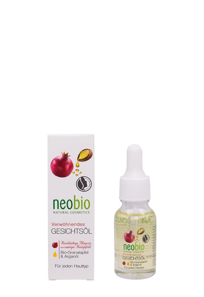 NEOBIO Насыщенное масло для лица, 15 мл05230259709NEOBIO насыщенное масло для лица с био-гранатом и аргановым маслом.Для всех типов кожи. Избавляет от сухости и ощущения стянутости. Нежная текстура масла не оставляет жирной пленки на лице, полностью впитываясь в кожу. Био-экстракт алоэ вера борется с воспалениями, миндальное масло обеспечивает длительное увлажнение, витамин E разглаживает морщинки и делает кожу бархатистой.