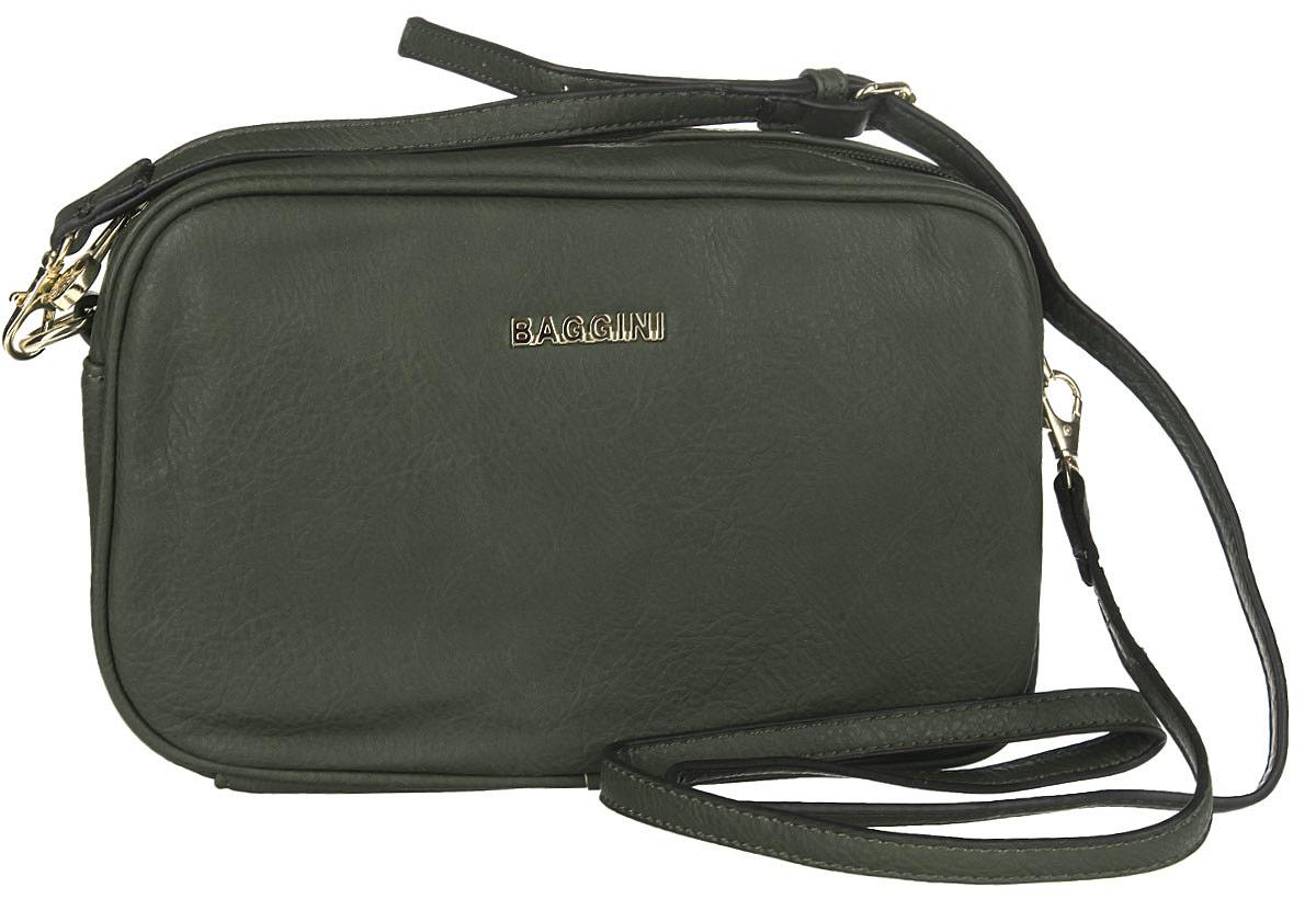 Сумка женская Baggini, цвет: темно-зеленый. 29607/53747998-101Стильная женская сумка Baggini выполнена из искусственной кожи с зернистой фактурой, оформлена металлической фурнитурой с символикой бренда.Изделие содержит одно отделение, которое закрывается на застежку-молнию. Внутри сумки расположены два накладных кармашка для мелочей, врезной карман на застежке-молнии и отделение для авторучки. На задней стороне изделия расположен врезной карман на молнии. Сумка оснащена съемным плечевым ремнем регулируемой длины.Модный аксессуар позволит вам завершить образ и быть неотразимой.