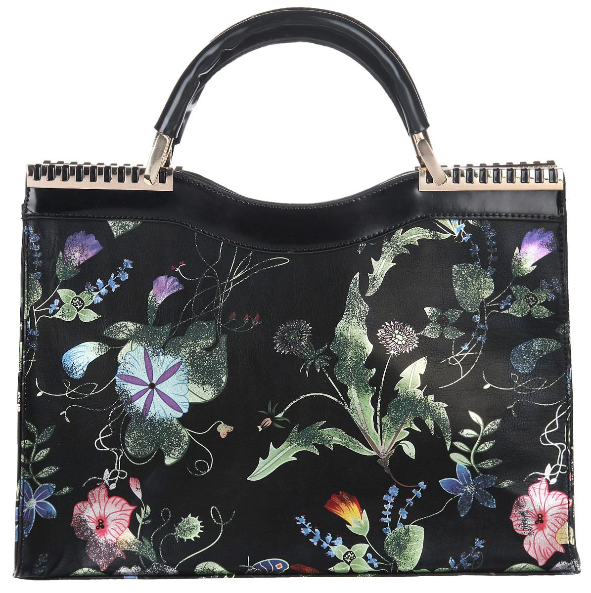 Сумка женская Renee Kler, цвет: черный, мультицвет. RF025-003-47660-00504Стильная женская сумка Renee Kler выполнена из искусственной кожи, оформлена оригинальным цветочным принтом.Изделие содержит одно отделение, которое закрывается на застежку-молнию. Внутри сумки расположены два накладных кармашка для мелочей, врезной карман на застежке-молнии и карман-средник на молнии. Снаружи, на задней стороне изделия, расположен врезной карман на молнии. Сумка оснащена удобными ручками и съемным плечевым ремнем регулируемой длины, которые позволят носить изделие, как в руках, так и на плече. Ручки дополнены металлической фурнитурой.Практичный аксессуар позволит вам завершить образ и быть неотразимой.