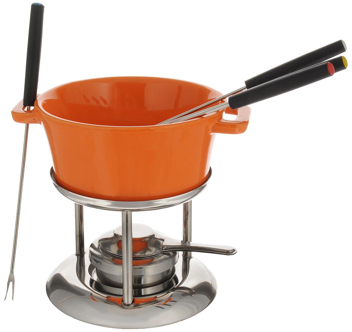 Набор для фондю Mayer & Boch, цвет: оранжевый, стальной, 7 предметов115510Набор для фондю Mayer & Boch имеет красивый и современный дизайн. Он прекрасно будет смотреться на столе и придаст вашему празднику, коктейльной вечеринке или интимному ужину праздничное настроение. Этот универсальный набор позволит каждому из ваших гостей насладиться тем продуктом, который им нравится больше всего, а также каждому предоставит возможность побыть своим личным шеф-поваром. Вы получите огромное удовольствие при приготовлении продуктов с помощью набора для фондю в любое время.Состав набора:Чаша. Подставка. 4 вилки.Стойка с подсвечником.Объем чаши: 600 мл.Диаметр чаши (по верхнему краю): 15 см.Высота чаши: 7 см.Длина вилок: 23 см.Диаметр подставки: 14,5 см.Высота подставки: 10,5 см.
