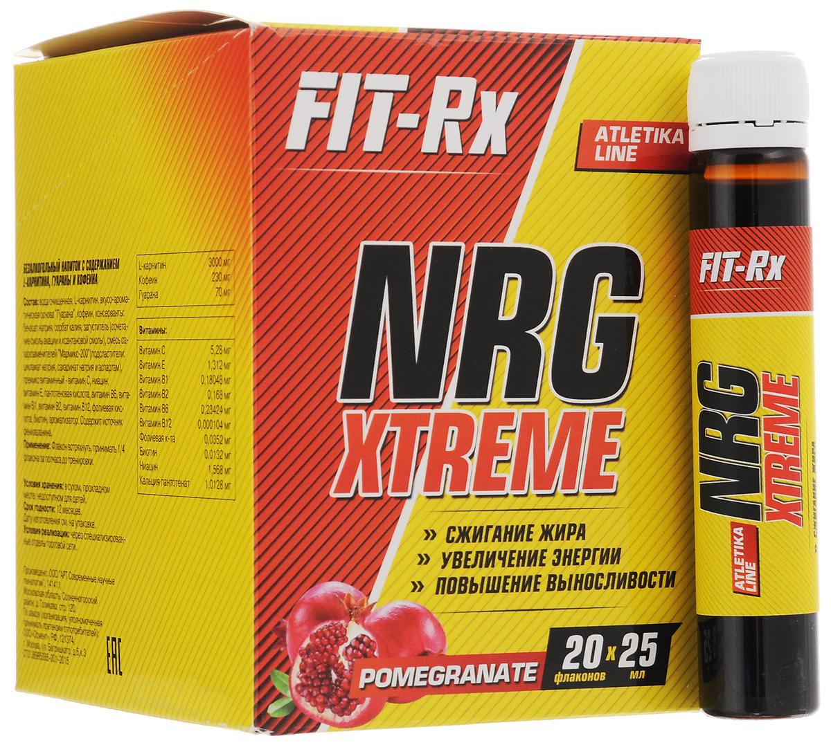 Предтренировочный комплекс FIT-RX NRG Xtreme, гранат, 20 х 25 мл00736FIT-RX NRG Xtreme - это сбалансированный жидкий комплекс широко известных, доказавших свою эффективность ингредиентов для уменьшения жировой ткани тела, повышения выносливости, ментальной концентрации и мотивации к физическим нагрузкам. Совместное применение L-карнитина и кофеина создает эффект, превосходящий применение этих продуктов в отдельности.L-карнитин используется организмом для транспортировки жирных кислот из проблемных зон тела (депо жира) в митохондрии клеток мышц. Там жирные кислоты окисляются и используются как источник энергии, то есть сжигаются. Этот процесс является естественным процессом организма. L-карнитин также стимулирует деятельность иммунной системы, предотвращает тромбозы и болезни сердца.Кофеин - мощный и безопасный стимулятор активности. Он повышает эффективность физической и умственной деятельности, ускоряет реакции, снимает депрессивные и тревожные состояния. Это позволяет тренироваться с большей энергией, с лучшим настроением, расходовать больше калорий. Чистый кофеин ведет к возникновению высокой мотивации и физических возможностей сразу после приема. Присутствие медленного кофеина из гуараны поддерживает бодрое состояние духа и тела на все время тренировки. Такой эффект повышает отдачу от тренировки и ведет к сжиганию большего количества жира. Кофеин также имеет выраженное свойство понижения аппетита.Функции препарата:Повышает выносливость во время тренировокОказывает мощное тонизирующее действиеУменьшает усталость и боль в мышцахАктивизирует физическую и умственную деятельностьУскоряет восстановление мышечной тканиРегулирует кровообращение и кислородный обменСтимулирует ЦНС, сердечнососудистую и иммунную системы.Состав: вода очищенная, L-карнитин (3000 мг), вкусо-ароматическая основа Гуарана (70 мг), кофеин (230 мг), консерванты: бензоат натрия, сорбат калия, загуститель (сочетание смолы акации и ксантановой смолы), смесь сахарозаменителей Мармикс-200 (подсластител