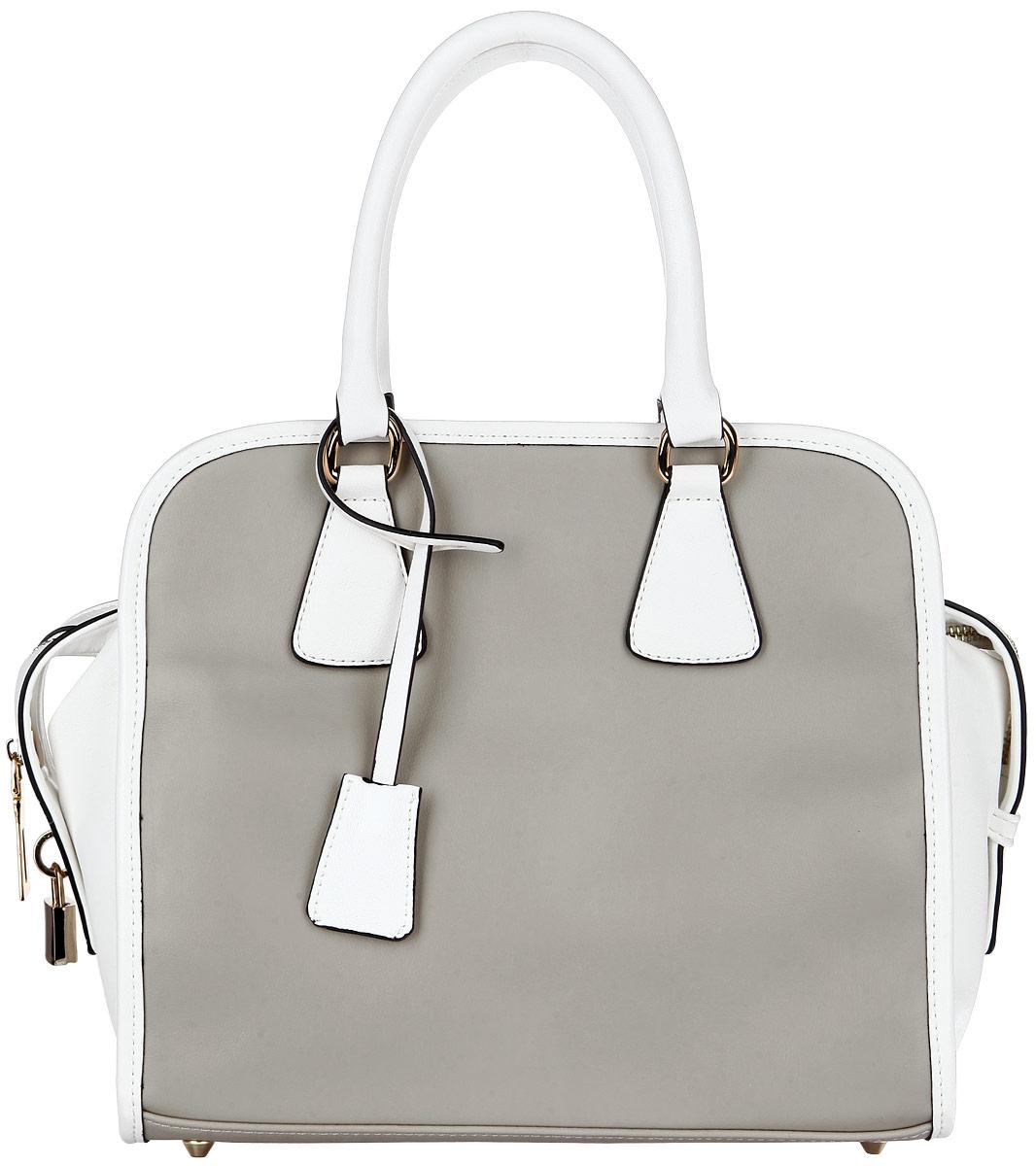 Сумка женская Renee Kler, цвет: белый, серый. RK186-1410130-11Элегантная женская сумка Renee Kler выполнена из искусственной кожи с гладкой фактурой, оформлена декоративной подвеской в виде замочка.Изделие содержит одно основное отделение, закрывающееся на застежку-молнию. Внутри сумки расположены два накладных кармашка для мелочей и врезной кармашек на застежке-молнии. Изделие оснащено двумя удобными ручками и съемным плечевым ремнем регулируемой длины. Дно изделия защищено от повреждений металлическими ножками.Модный аксессуар позволит вам завершить образ и быть неотразимой.