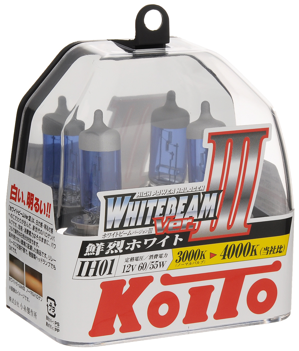 Лампа высокотемпературная Koito Whitebeam IH01 12V 60/55W (100/90W) пластиковая упаковка - 2 шт комплект P0745W48056Лампы KOITO Whitebeam являются вершиной развития технологий автомобильного освещения. Созданные с применением самых современных технологий и ноу-хау компании KOITO, разработанные на основе опыта поставок систем освещения крупнейшим мировым автопроизводителям, лампы серии Whitebeam III воплотили в себе весь опыт и достижения компании за почти вековую историю работы.Напряжение: 12 вольт. Цветовая температура: 4000К. Тип цоколя: IH01. Цвет света: белый. Технические характеристики: 12V 60/55W (светоотдача 100/90W. )