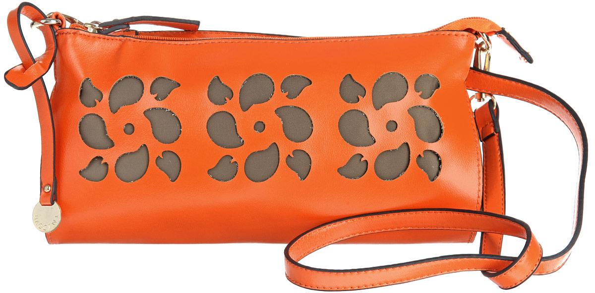 Сумка женская Baggini, цвет: оранжевый. 28073-1/62A-B86-05-CСтильная женская сумка Baggini выполнена из искусственной кожи с гладкой фактурой, оформлена оригинальной подвеской и перфорацией в виде трех цветков.Изделие содержит одно отделение, закрывающееся на застежку-молнию. Внутри сумки расположены два накладных кармашка для мелочей и врезной карман на молнии. Сумка дополнена съемным плечевым ремнем.Оригинальная сумка идеально подчеркнет ваш неповторимый стиль.