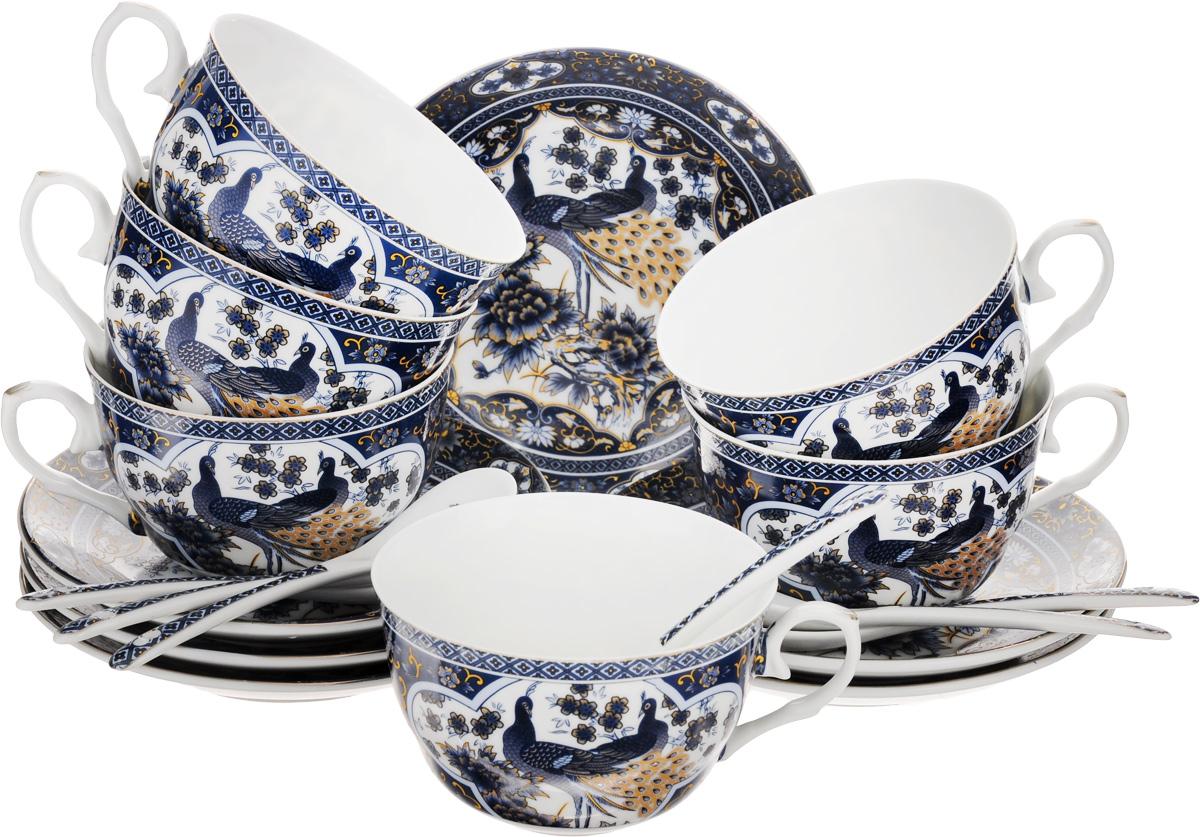 Набор чайный Elan Gallery Синий павлин, 18 предметовAK1508-957-Y15, AK1508-XY-Y15Чайный набор Elan Gallery Синий павлин состоит из 6 чашек, 6 блюдец и 6 ложек. Изделия, выполненные из высококачественной керамики, имеют элегантный дизайн и классическую круглую форму.Такой набор прекрасно подойдет как для повседневного использования, так и дляпраздников. Чайный набор Elan Gallery Синий павлин - это не только яркий и полезный подарок для родных и близких, это также великолепное дизайнерское решение для вашей кухни или столовой. Не использовать в микроволновой печи.Объем чашки: 250 мл. Диаметр чашки (по верхнему краю): 9,5 см. Высота чашки: 6 см.Диаметр блюдца (по верхнему краю): 14 см.Высота блюдца: 2 см.Длина ложки: 12,5 см.