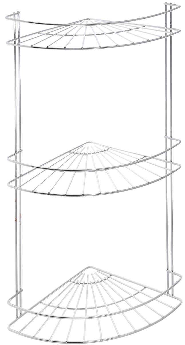Полка подвесная Vanstore Slim, угловая, 3-ярусная, высота 48 см391602Угловая подвесная полка Vanstore Slim, выполненная из стали, сэкономит место в ванной комнате. Полка подвешивается с помощью саморезов (входят в комплект). Изделие имеет 3 полки для хранения различных средств гигиены, которые всегда будут под рукой.Благодаря компактным размерам, полка впишется в интерьер вашего дома, а также позволит удобно и практично хранить предметы домашнего обихода.Размер яруса (ДхШхВ): 18 х 18 х 4 см.Общая высота полки: 48 см.