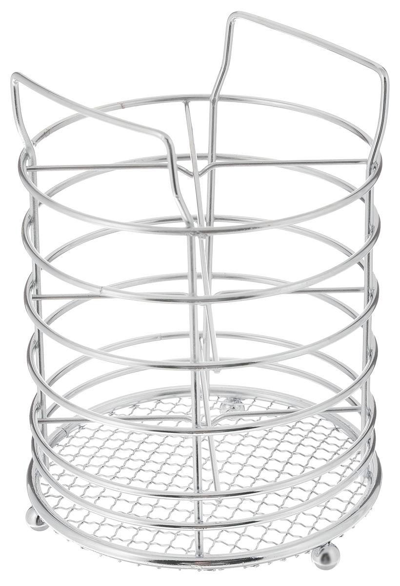 Подставка для столовых приборов Mayer & Boch, 11,5 х 11,5 х 16 смFD-59Подставка для столовых приборов Mayer & Boch представляет собой каркас из хромированного металла с сеткой в нижней части. Изделие стоит на трех шарообразных ножках. Подставка разделена на 4 секции. Она позволяет аккуратно хранить основные типы столовых приборов. Вы можете установить подставку в любом удобном месте. Такая подставка для столовых приборов станет полезным аксессуаром в домашнем быту и идеально впишется в интерьер современной кухни.