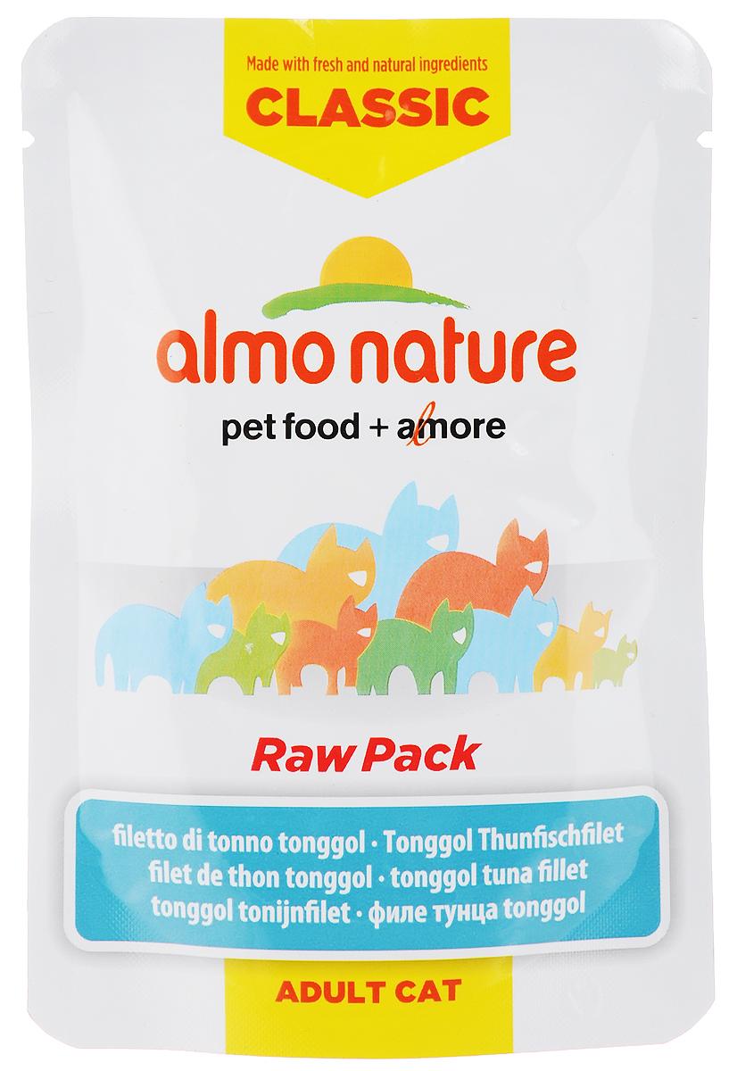 Консервы для взрослых кошек Almo Nature Classic Raw Pack, филе тонгольского тунца, 55 г0120710Консервы Almo Nature Classic Raw Pack - это сбалансированный влажный корм, рекомендованный взрослым кошкам. Угощение изготавливается из свежих и натуральных ингредиентов, которые были упакованы в сыром виде, затем стерилизованы прямо в пауче, позволяя сохранить все питательные вещества и вкус и аромат. Ваш питомец будет в полном восторге!Не содержит сои, консервантов, ароматизаторов, искусственных красителей, усилителей вкуса.Состав: филе тонгольского тунца 75%, бульон из тунца 24%, рис 1%. Пищевая ценность в 100г: белок 20%, клетчатка 0,1%, масла и жиры 0,3%, зола 2%, влажность 77%. Энергетическая ценность: 720 ккал/кг. Товар сертифицирован.