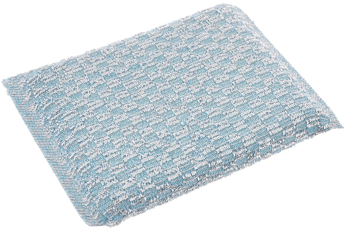 Губка для мытья посуды Home Queen, с металлизированной нитью, цвет: голубой50304_голубойГубка Home Queen изготовлена из поролона в чехле из полипропиленовой металлизированной нити. Предназначена для мытья посуды и очистки сильно загрязненных кухонных поверхностей. Удобна в применении. Позволяет экономить моющее средство, благодаря структуре поролона, который дает много пены при использовании.Материал: полипропиленовая металлизированная нить, поролон.