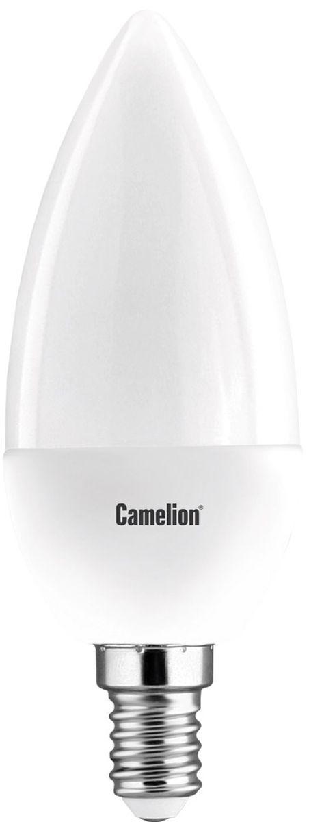 Лампа светодиодная Camelion, теплый свет, цоколь Е14, 7W. 1207312073Светодиодная лампа Camelion - это инновационное решение, разработанное на основе новейших светодиодных технологий (LED) для эффективной замены любых видов галогенных или обыкновенных ламп накаливания во всех типах осветительных приборов. Она хорошо подойдет для создания рабочей атмосферы в производственных и общественных зданиях, спортивных и торговых залах, в офисах и учреждениях. Лампа не содержит ртути и других вредных веществ, экологически безопасна и не требует утилизации, не выделяет при работе ультрафиолетовое и инфракрасное излучение. Напряжение: 220-240В/50 Гц.Индекс цветопередачи (Ra): 77+.Угол светового пучка: 240°.Срок службы: 30000 ч.