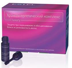 Estel Хромоэнергетический комплекс 10*5 млХЭКEstel Professional предлагает Хромоэнергетический комплекс, представляющий собой уникальное сочетание ухаживающих и защищающих компонентов, которые дополняют друг друга и оказывают явное положительное воздействие на волосы с первых же минут нанесения краски. ХЭК (Хромоэнергетический комплекс) Estel Professional - это эмульсия для защиты волос при окрашивании и обесцвечивании, придания блеска и шелковистости. Содержит уникальную комбинацию ухаживающих и защищающих компонентов, которые дополняют друг друга и оказывают мощное положительное воздействие на волосы с первых же минут нанесения.Придает блеск, мягкость и шелковистость;Защищает волосы во время окрашивания или обесцвечивания;Способствует выравниванию структуры волос;Содержит хитозан, экстракт каштана и богатый комплекс витаминов;Усиливает кондиционирующие свойства красящей (обесцвечивающей смеси).Хромоэнергетический комплекс рекомендуется для всех типов волос. Чтобы достигнуть идеального эффекта, необходимо добавлять ампулы с ХЭК в красящую/обесцвечивающую смесь непосредственно перед нанесением. Блеск, мягкость и шелковистость, здоровый ухоженный вид волос после смывания краски, – это то, что ощутит клиент после процедуры окрашивания или обесцвечивания.Применяется с перманентными и полуперманентными красителями,с обесцвечивающей пудрой. Не требует увеличения количества оксигента или активатора. Не изменяет цветовой нюанс.