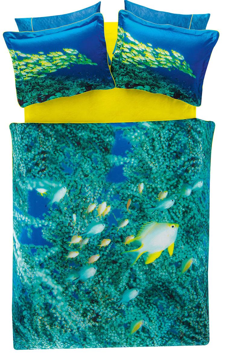Комплект белья TAC Neon, 2-спальный, наволочки 50х70, цвет: лазурный, желтый391602Роскошный комплект постельного белья TAC Neon выполнен из качественного плотного сатина и украшен изображением красочных морских обитателей и разнообразных растений. Комплект состоит из пододеяльника, простыни и четырех наволочек. Пододеяльник застегивается на пуговицы.Сатин – гладкая и прочная ткань, которая своим блеском, легкостью и гладкостью похожа на шелк, но выгодно отличается от него в цене. Сатин практически не мнется, поэтому его можно не гладить. Ко всему прочему, он весьма практичен, так как хорошо переносит множественные стирки.Доверьте заботу о качестве вашего сна высококачественному натуральному материалу.