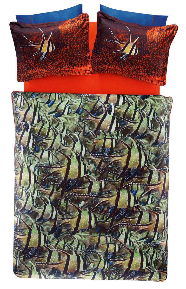 Комплект белья TAC Cobalt, 2-спальный, наволочки 50х70, цвет: зеленый, красный, коричневый00000004537Роскошный комплект постельного белья TAC Cobalt выполнен из качественного плотного сатина и украшен изображением красочных морских обитателей и разнообразных растений. Комплект состоит из пододеяльника, простыни и четырех наволочек. Пододеяльник застегивается на пуговицы.Сатин – гладкая и прочная ткань, которая своим блеском, легкостью и гладкостью похожа на шелк, но выгодно отличается от него в цене. Сатин практически не мнется, поэтому его можно не гладить. Ко всему прочему, он весьма практичен, так как хорошо переносит множественные стирки.Доверьте заботу о качестве вашего сна высококачественному натуральному материалу.