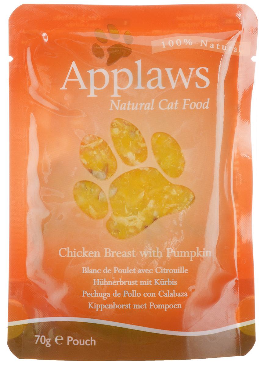 Консервы для кошек Applaws, с курицей и тыквой, 70 г24361Консервы для кошек Applaws - это 70 г настоящего удовольствия для кошек. Нежное мясо в собственном бульоне с лакомыми добавками. Ламинированная упаковка из пищевой фольги прекрасно сохраняет все вкусовые качества рецепта. Продукт не содержит ГМО, синтетических добавок, усилителей вкуса и красителей. Applaws - все только натурально, ничего лишнего! Состав: филе куриной грудки 50%, куриный бульон 24%, тыква 25%, рис 1%.Гарантированный анализ: белок 12%, жиры 0,3%, зола 0,5%, клетчатка 0,2%, влага 81%.Товар сертифицирован.
