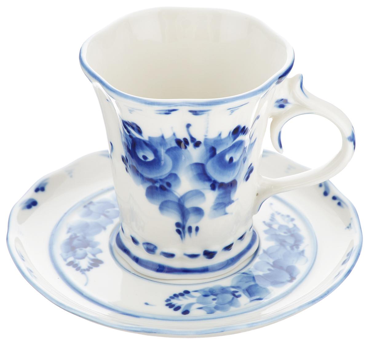 """Чайная пара """"Катерина"""", цвет: белый, синий, 2 предмета. 993010112, Гжельский фарфоровый завод"""