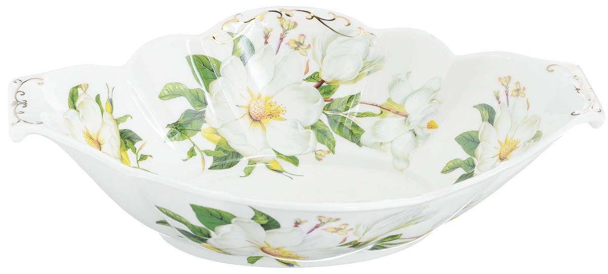 Блюдо сервировочное Elan Gallery Белый шиповник, 33 х 21 х 8,5 смVT-1520(SR)Блюдо сервировочное Elan Gallery Белый шиповник выполнено из высококачественной керамики в традиционном цветочном дизайне с золотистой каймой. Размер этого блюда подходит и для подачи горячего, и для приготовления и хранения слоеных салатов, для заливного или холодца. Изумительное сервировочное блюдо станет изысканным украшением вашего праздничного стола.Не рекомендуется использовать абразивные моющие средства. Не использовать в микроволновой печи.Размер блюда (по верхнему краю): 33 х 21 см.