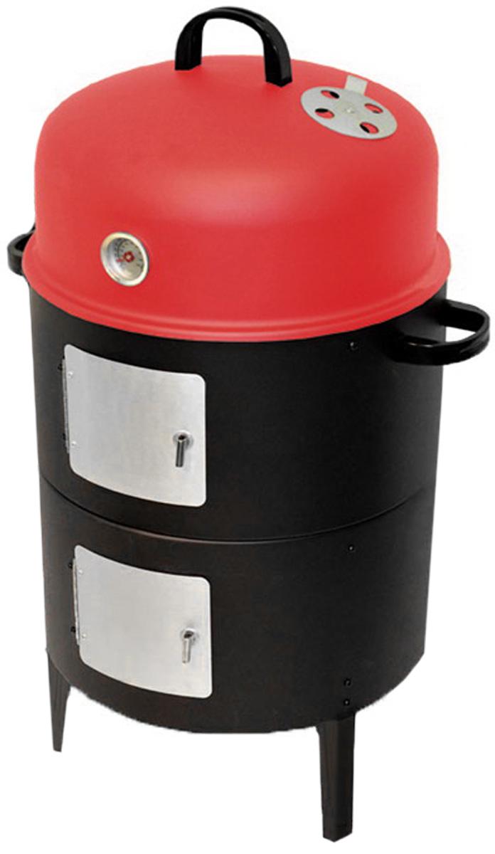 Коптильня 3в1 Smoker, 2 яруса. 4358A21781Коптильня Smoker предназначена для самостоятельного копчения мяса, рыбы и других продуктов на открытом воздухе. К тому же благодаря эргономичному дизайну вы можете использовать ее в качестве жаровни, сняв верхнюю крышку с датчиком температуры, или гриля, оставив только нижний ярус с решёткой.Корпус коптильни изготовлен из окрашенной эмалированной стали. Внутри она имеет два вместительных яруса. Продукты для копчения размещаются на двух металлических решетках, а также могут подвешиваться на крюках. Для более удобного использования круглые решетки имеют специальные ручки. Обтекаемая форма внутренней камеры способствует равномерному и качественному приготовлению пищи. Также коптильня снабжена датчиком температуры с детальным масштабом, с помощью которого можно отслеживать динамику нагрева. Подачу воздуха можно регулировать. В комплект входят две эмалированные миски, крюки.Коптильня Smoker станет прекрасным подарком для любителей пикников, рыбалки и отдыха на даче. Благодаря ей вы легко сможете приготовить вкусную и оригинальную еду. Характеристики: Материал:сталь, алюминий. Высота коптильни:81 см. Диаметр коптильни:44 см. Диаметр решетки для пищи: 40 см. Диаметр решетки для угля:33 см. Толщина стенок корпуса: 0,3 см.Вес коптильни:6,7 кг. Размер упаковки:46 см х 46 см х 26 см. Производитель:Бельгия. Изготовитель:Китай. Артикул:2239850000.