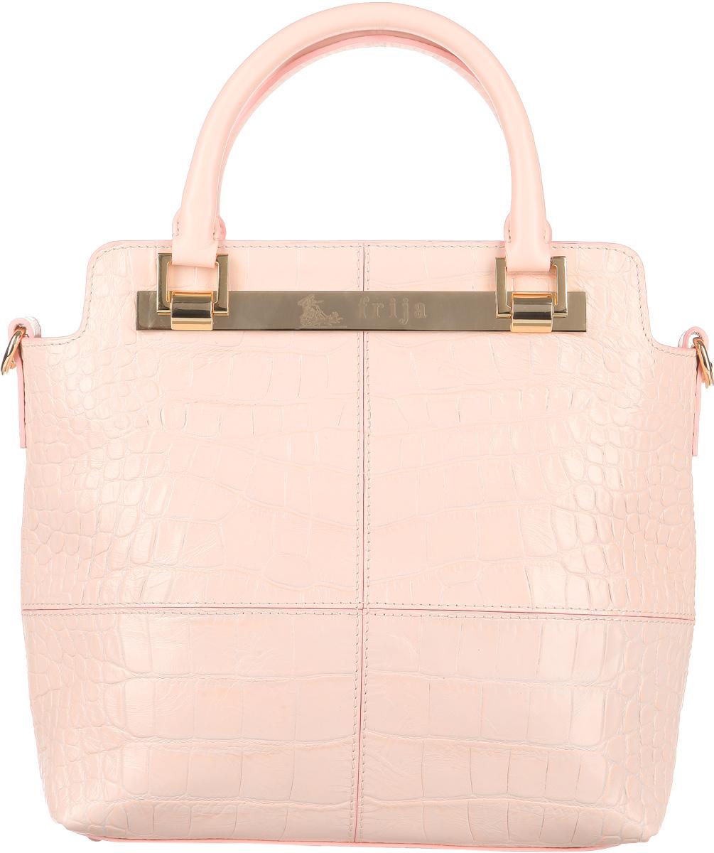 Сумка женская Frija, цвет: светло-розовый. 21-0221-13-CRA-B86-05-CСтильная женская сумка Frija выполнена из натуральной высококачественной кожи и оформлена тиснением под рептилию, стильным фирменным брелоком на кожаном ремешке. Лицевая сторона изделия декорирована оригинальной металлической пластиной с названием бренда. Сумка имеет одно вместительное отделение, закрывающееся на застежку-молнию. Внутри отделения - два накладных кармашка для мелочей и телефона и врезной карман на застежке-молнии. Дно защищено металлическими ножками, обеспечивающими дополнительную устойчивость. Две удобные ручки-жгуты крепятся к корпусу сумки на металлическую фурнитуру золотого цвета.В комплект с сумкой входит съемный плечевой ремень регулируемой длины.Сумка упакована в фирменный чехол. Сумка Frija - это стильный аксессуар, который подчеркнет вашу изысканность и индивидуальность и сделает ваш образ завершенным.