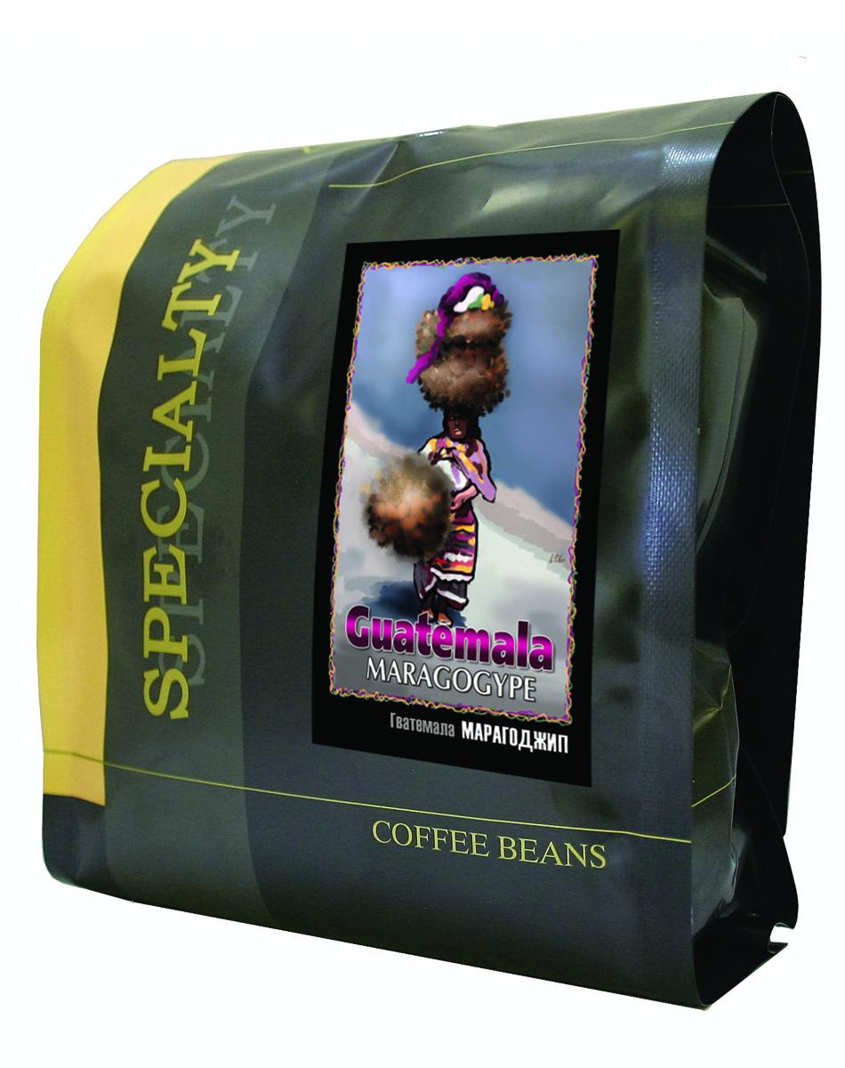 БлюзМарагоджип Гватемала кофе в зернах, 500 г0120710Огромные зёрна марагоджипа - самой крупной разновидности арабики, выращиваемые фермерами Гватемалы, затем заботливо обжаренные для вас в Блюзе. Ярко выраженный острый вкус, высокая кислотность и особенный, с привкусом дыма, аромат. Настой насыщенный, с долгим мягким послевкусием. Букет богатый, комплексный, с фруктовыми, цветочными и дымными оттенками.