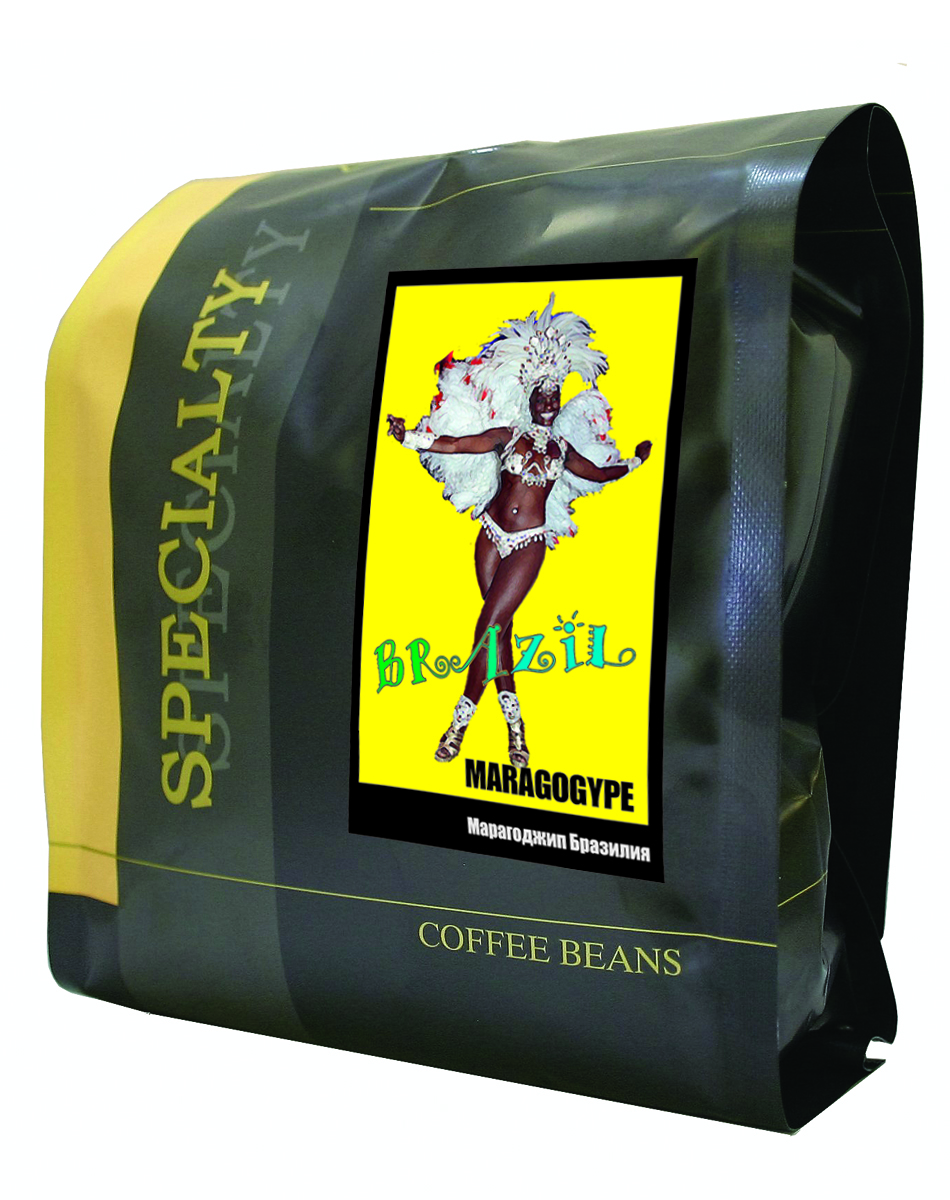 Блюз Марагоджип Бразилия кофе в зернах, 500 г8056370761326Блюз Марагоджип Бразилия - самая крупная разновидность арабики. Настой насыщенный, терпкий, а кислинка винно - фруктовая. Консистенция напитка - мягкая, обволакивающая, сливочная. Букет отлично сбалансирован. Игривые, сладкие нотки муската, гвоздики, грецкого ореха, цедры лайма подарят незабываемые ощущения.