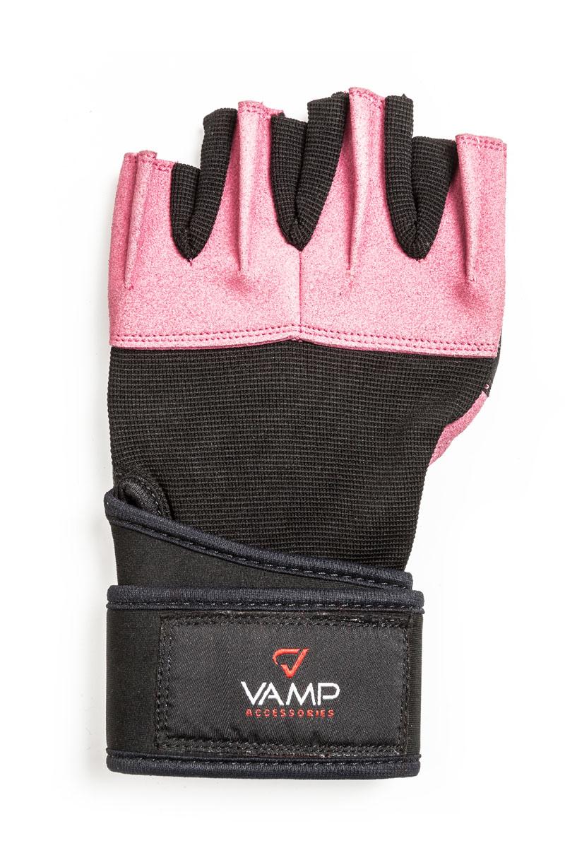 Перчатки для фитнеса Vamp женские, цвет: розовый. 540. Размер XLV-966Стильные и практичные женские перчатки для занятий силовыми видами спорта, обеспечивающие надежную защиту для рук в ходе силовых тренировок и работы с железом. - Рукам не жарко, они меньше потеют в перчатках благодаря применению дышащего материала. - Легко и просто снимаются с руки после тяжелой тренировки благодаря специальным вкладкам на пальцах. - Кистевой бинт с застежкой на липучке защищает от травм запястья.