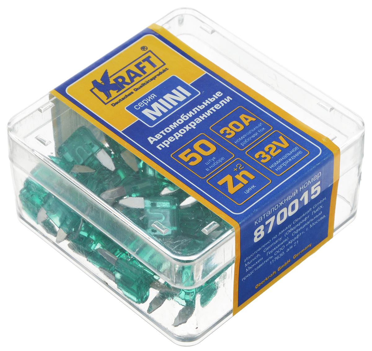 Набор автомобильных предохранителей Kraft Мини, 30А, 50 шт2012506200424Набор Kraft Мини состоит из 50 автомобильных предохранителей номиналом 30А. Изготовлены из цинка и пластика. Поставляются в пластиковой коробке. Номинальное напряжение: 32V. Номинальный рабочий ток: 30А.