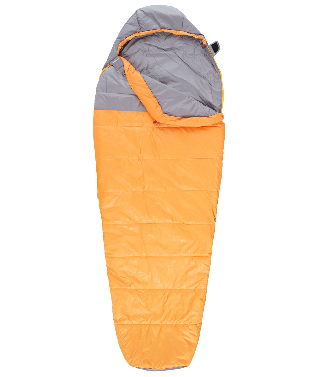 Мешок спальный The North Face Aleutian 35/2, удлиненный, цвет: оранжевый, серый, левосторонняя молния67742The North Face Aleutian 35/2 - это трехсезонный спальный мешок для путешествий, который можно целиком расстегнуть и расстелить в палатке. Этот спальный мешок очень вместительный, универсальный, теплый, комфортный и при этом практичный. Спальный мешок упакован в удобный чехол для переноски.Вес наполнителя: 584 г.Длина мешка: 198 см.