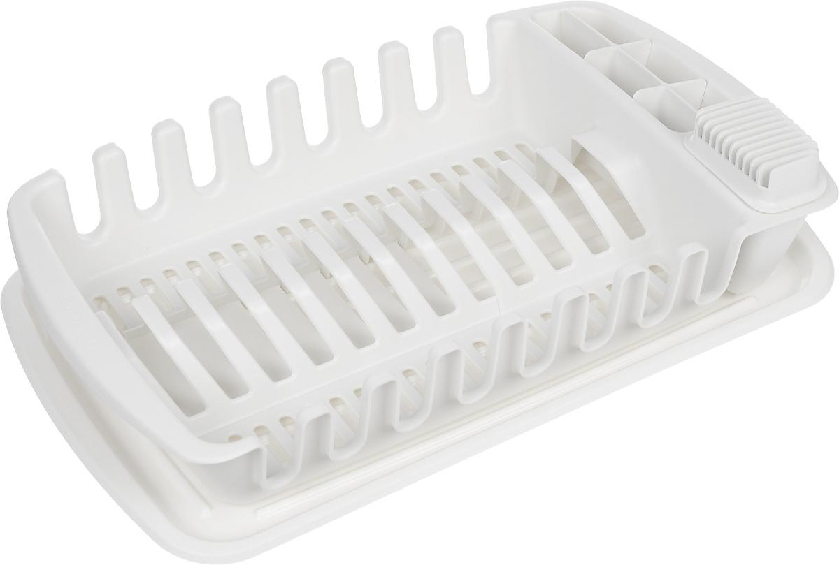 Сушилка для посуды Tescoma Clean KitMT-1951Сушилка для посуды Tescoma Clean Kit отлично подходит для хранения и сушки тарелок, чашек, посуды и кухонной утвари, столовых приборов, кухонных ножей, подходит также для глубоких и больших сервировочных тарелок (диаметром до 30 см). Поставляется с лотком для стекания воды, регулируемой подставкой для 4 или 12 тарелок и контейнером для безопасного хранения ножей, столовых приборов и кухонной утвари. Сушилка изготовлена из высококачественного прочного пластика. Такая сушилка отлично впишется в интерьер любой кухни и поможет компактно хранить и сушить посуду. Изделие можно мыть в посудомоечной машине.