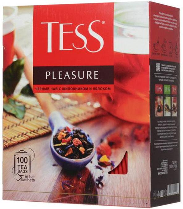 Tess Pleasure черный чай в пакетиках, 100 шт0120710Tess Pleasure – выразительная композиция из черного чая с кусочками шиповника, сушеных яблок и нежных васильковых лепестков. Особая прелесть этого сорта – сочетание мягкого вкуса цейлонского чая и тонких оттенков фруктов. Приятный нежный аромат с легким оттенком персика.