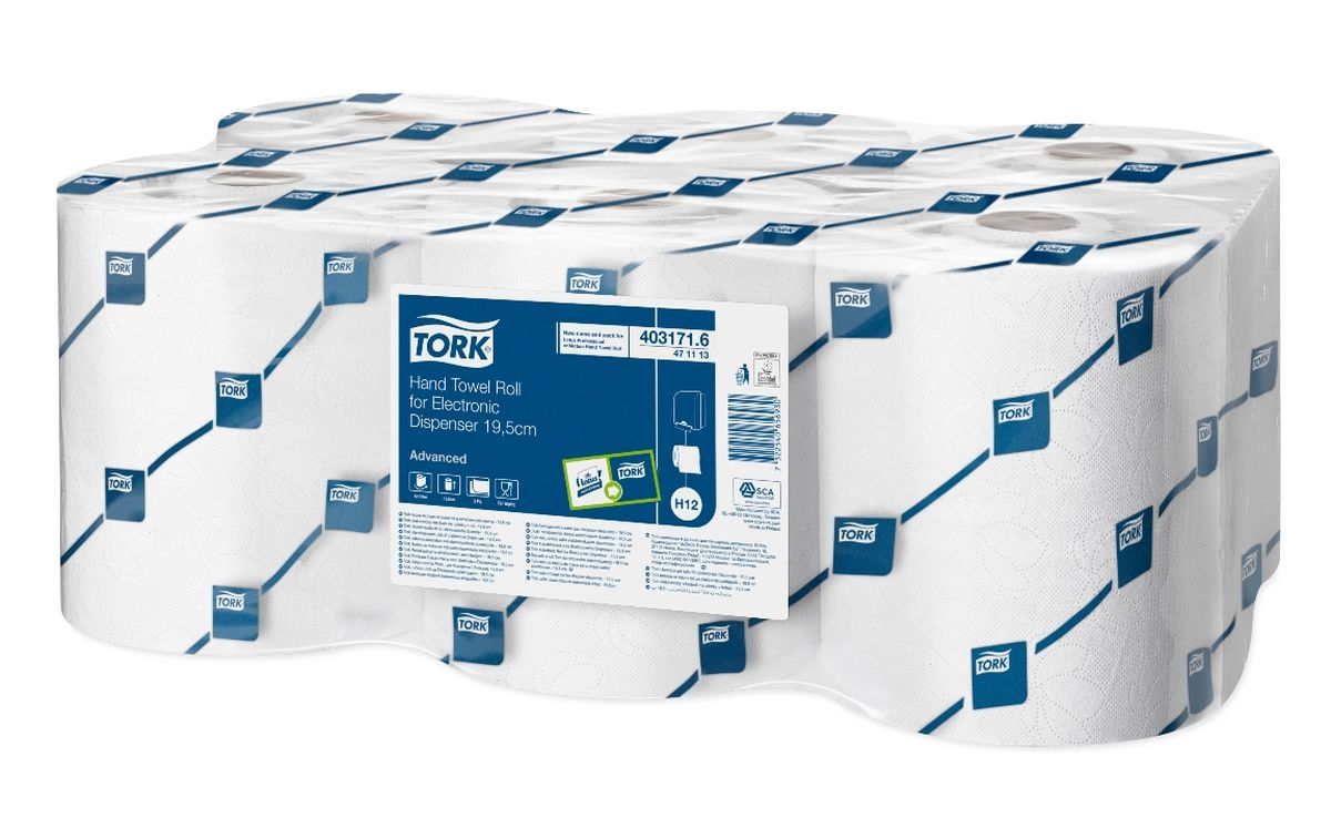 Полотенца бумажные Tork, двухслойные, 6 рулонов19201Двухслойные рулонные полотенца для диспенсеров Торк системы Н12. Полотенца белого цвета с тиснением. Состоят полностью из переработанного волокна.Система Н12. Категория качества - Advanced. С помощью настроек диспенсера можно менять длину листа. В зависимости от этого количество листов может варьироваться: 357, 476 или 572. Рулоны длиной 143 м, шириной 19,5см. В упаковке 6 рулонов.