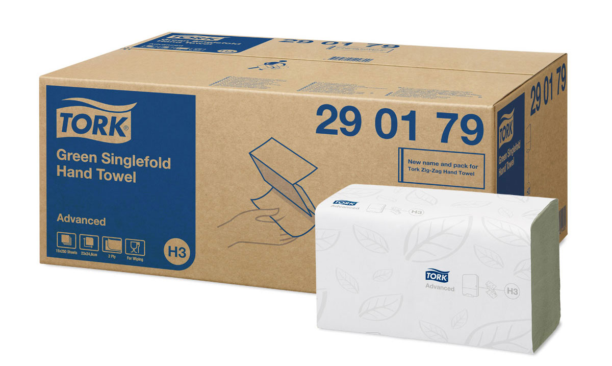 Tork листовые полотенца Singlefold сложения ZZ зеленые 2-сл 250л, коробка 15 шт tork m2 advanced 130034