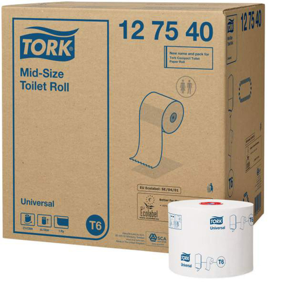 Tork туалетная бумага Mid-size в миди рулонах 1-сл. 135м, коробка 27 шт010-01199-23Целлюлоза