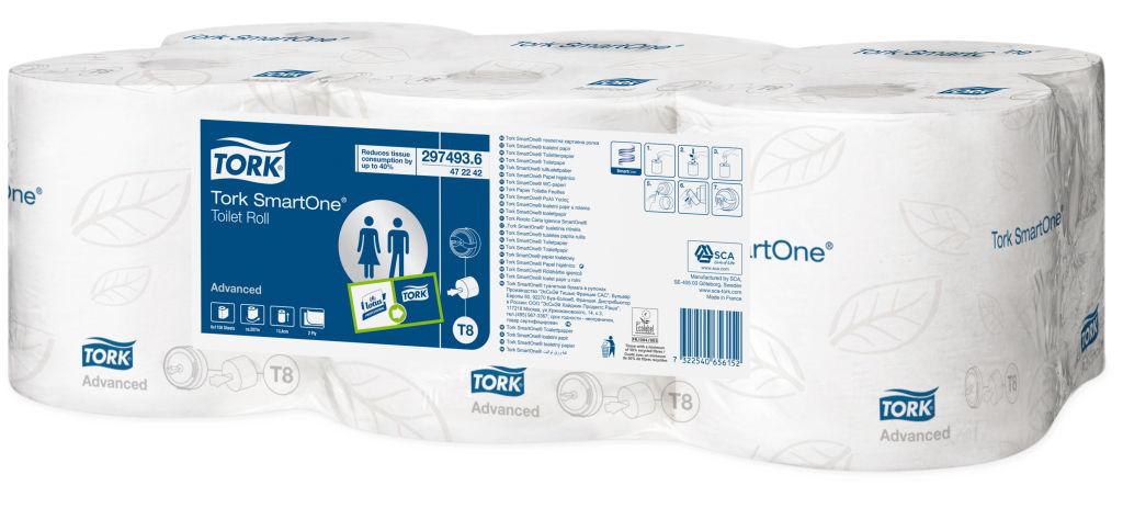 Бумага туалетная Tork  SmartOne , двухслойная, 6 рулонов - Туалетная бумага