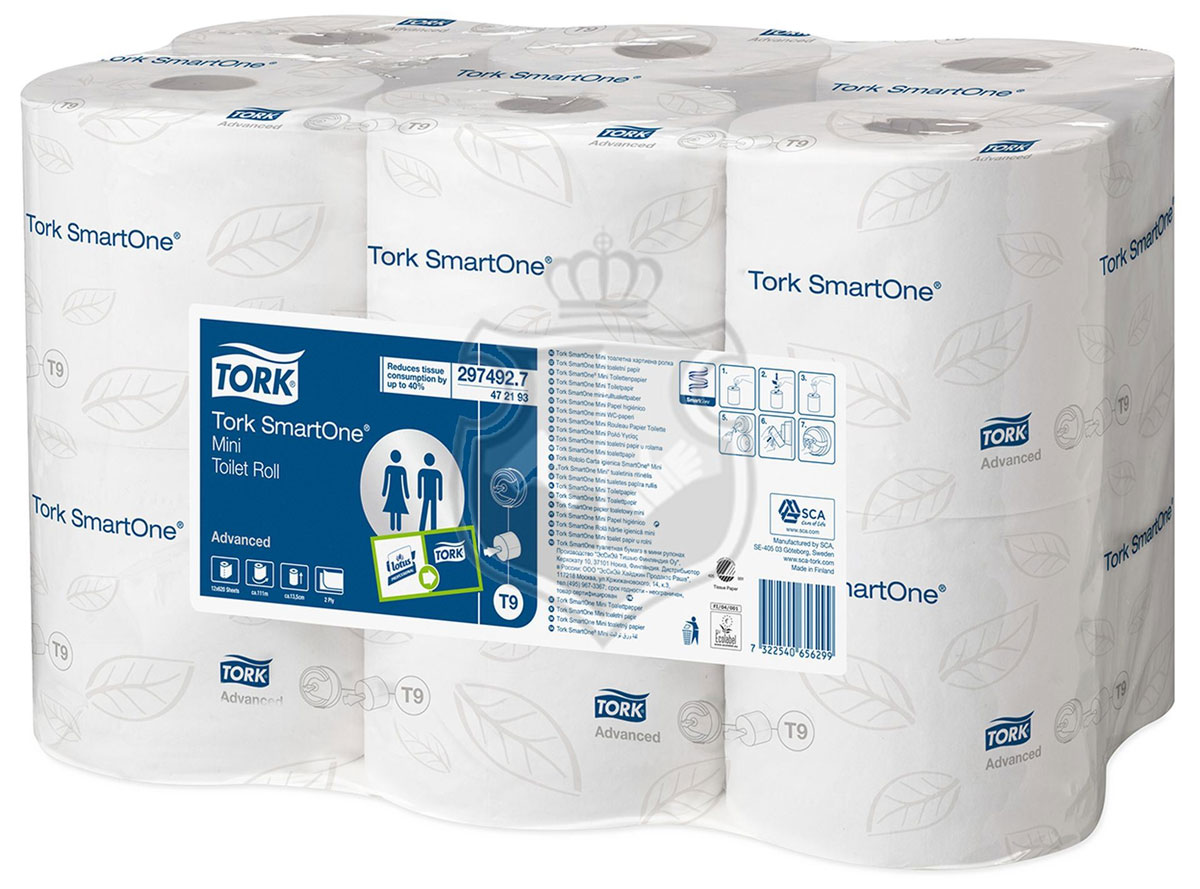 Tork SmartOne туалетная бумага в мини рулонах 2сл 112м, коробка 12 шт67742Целлюлоза