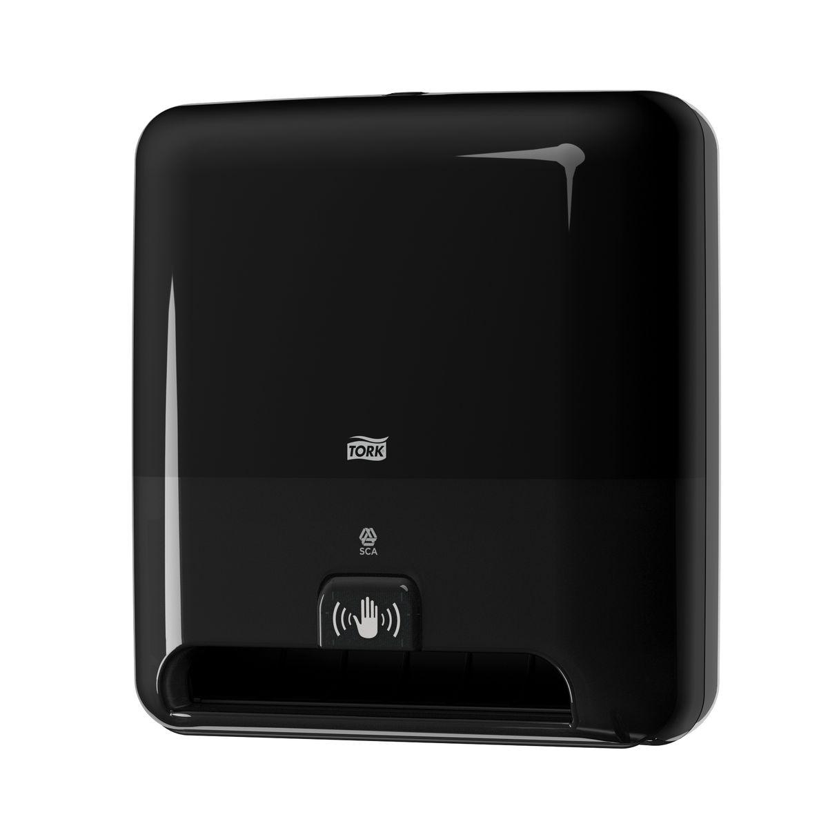 Диспенсер для бумажных полотенец Tork, цвет: черный. 551108NLED-426-3W-WСистема Н1 - Полотенца в рулонах.Сенсорный диспенсер для полотенец в рулонах Tork Matic - это гигиеничное и экономичное решение.•Бесконтактный отбор полотенец обеспечивает высокий уровень гигиены•Большая вместимость сокращает частоту перезаправок•Интуитивно понятная конструкция облегчает и ускоряет перезаправку•Возможность регулировать длину полотенца обеспечивает контроль расхода полотенец•Световые индикаторы замены элементов питания и расхода рулона•Бесшумная работа сенсора