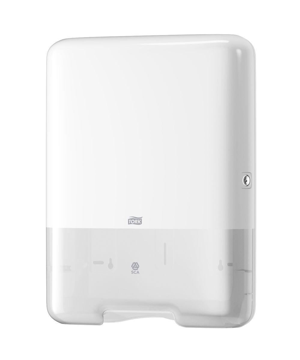 Диспенсер для бумажных полотенец Tork, цвет: белый. 553000RG-D31SСистема Н3 - Полотенца сложения SinglefoldДержатель для полотенец с большим смотровым окном и контролем заполнения.Выполнен из белого пластика.Ударопрочный вместительный корпус объемом подходит для 2,5 пачек zz (v, z,c) сложения полотенец и защищен от переполнения.Есть возможность бокового открывания крышки.Открывается альтернативно: ключом или кнопкой.