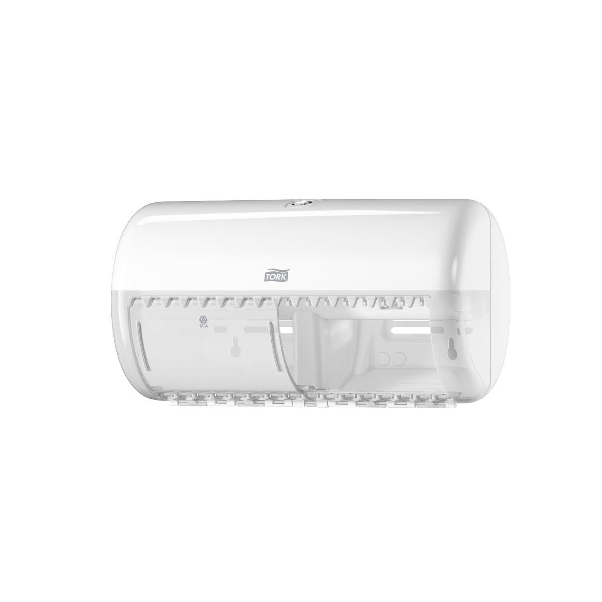 Диспенсер для туалетной бумаги Tork, цвет: белый. 557000200039Система Т4 - бумага в стандартных рулончиках.Практичный компактный диспенсер, вмещающий 2 стандартных рулона туалетной бумаги.Бумага легко отрывается с помощью удобных зубцов, даже не имея перфорации, защищается от повреждений и кражи.Диспенсер открывается с помощью ключа или нажатием на кнопку.В комплект входит инструкция по заправке и использованию.