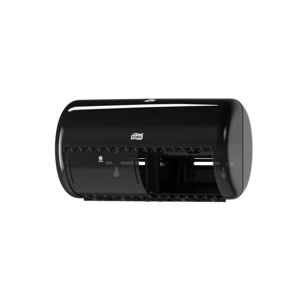 Диспенсер для туалетной бумаги Tork, цвет: черный. 55700874-0120Система Т4 - бумага в стандартных рулончиках.Практичный компактный диспенсер, вмещающий 2 стандартных рулона туалетной бумаги.Бумага легко отрывается с помощью удобных зубцов, даже не имея перфорации, защищается от повреждений и кражи.Диспенсер открывается с помощью ключа или нажатием на кнопку.В комплект входит инструкция по заправке и использованию.