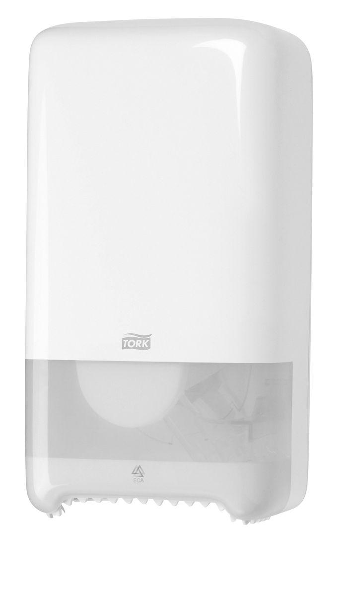 Диспенсер для туалетной бумаги Tork, цвет: белый. 55750068/5/3Система Т6 - бумага в миди рулонах.Надежный функциональный диспенсер на 2 рулона бумаги по 100 м, требующий минимального обслуживания благодаря инновационной системе с автоматической заменой рулона.Диспенсер можно перезаправлять и после использования одного рулона.Открывается с помощью ключа или нажатием на кнопку.Внутри предусмотрено место для визитной карточки и уровнемер для быстрого монтажа.Подходит для использования в туалетных комнатах средней проходимости.