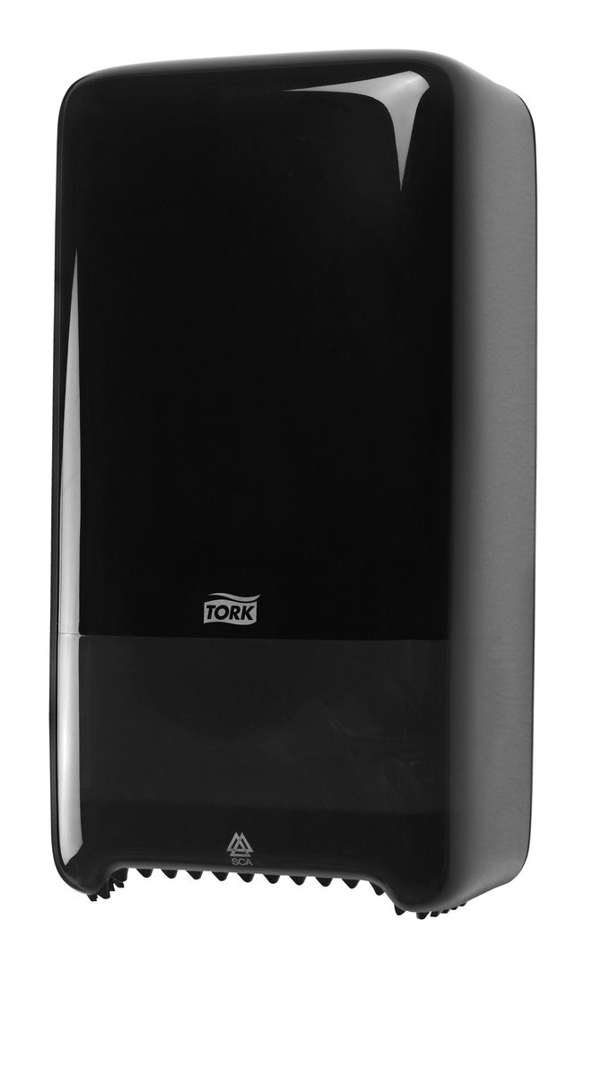 Диспенсер для туалетной бумаги Tork, цвет: черный. 55750874-0120Система Т6 - бумага в миди рулонах.Надежный функциональный диспенсер на 2 рулона бумаги по 100 м, требующий минимального обслуживания благодаря инновационной системе с автоматической заменой рулона.Диспенсер можно перезаправлять и после использования одного рулона.Открывается с помощью ключа или нажатием на кнопку.Внутри предусмотрено место для визитной карточки и уровнемер для быстрого монтажа.Подходит для использования в туалетных комнатах средней проходимости.