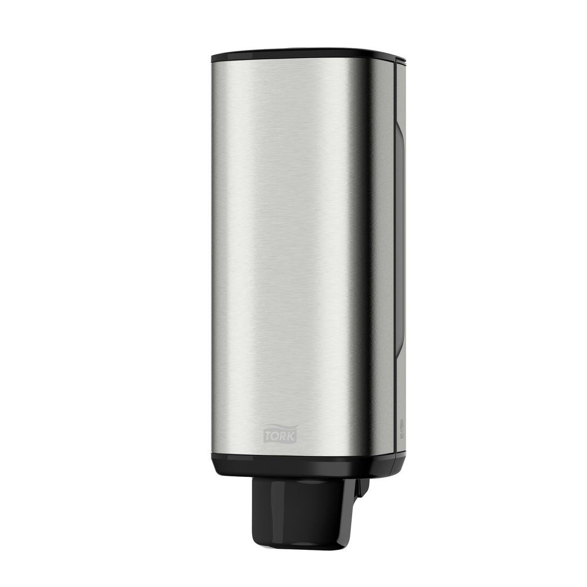 Диспенсер для мыла Tork, цвет: металл. 46001020160Диспенсер Tork обладает уникальными характеристиками: - Сочетание нержавеющей стали и пластика обеспечивает надежность и легкость диспенсера; - На поверхности не остается отпечатков пальцев и мыльных разводов; - Два режима работы замка: закрывается на ключ или работает как кнопка; - Смотровые окошки для быстрого контроля наличия расходного материала; - Высочайший уровень гигиены благодаря одноразовым картриджам; - Экономичный расход - одна порция составляет 0,4 мл мыла-пены; - В диспенсере есть возможность закрепить визитную карточку.