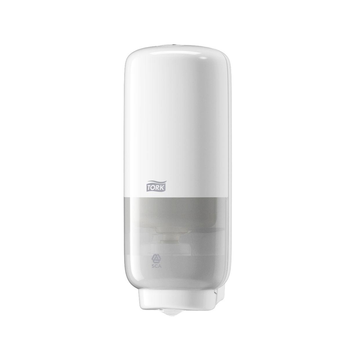 Диспенсер для мыла Tork, сенсорный, цвет: белый. 56160068/5/1Диспенсер Torkудачно сочетает стильный дизайн и функциональность, и подходят для любых туалетных комнат. Изготовлен из ударопрочного пластика. Работают на картриджах мыла-пены Tork системы S4.Сенсорный механизм подачи мыла; Цветовые индикаторы расхода картриджа и заряда батареи;Перезаправка за несколько секунд; Дозирует 0,4 мл мыла-пены. Работает на 4 алкалиновых элементах серии С.
