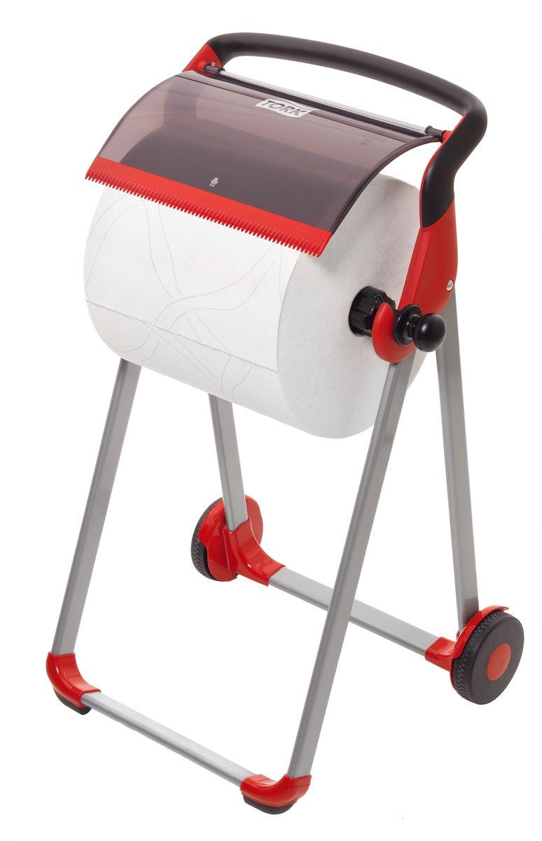 Диспенсер для туалетной бумаги Tork, цвет: красный. 652008531-105Держатель для протирочных материалов Tork.Напольный держатель оснащен колёсной базой для более лёгкого перемещения, устойчивый и прочный каркас.Быстро и легко менять расходный материал.