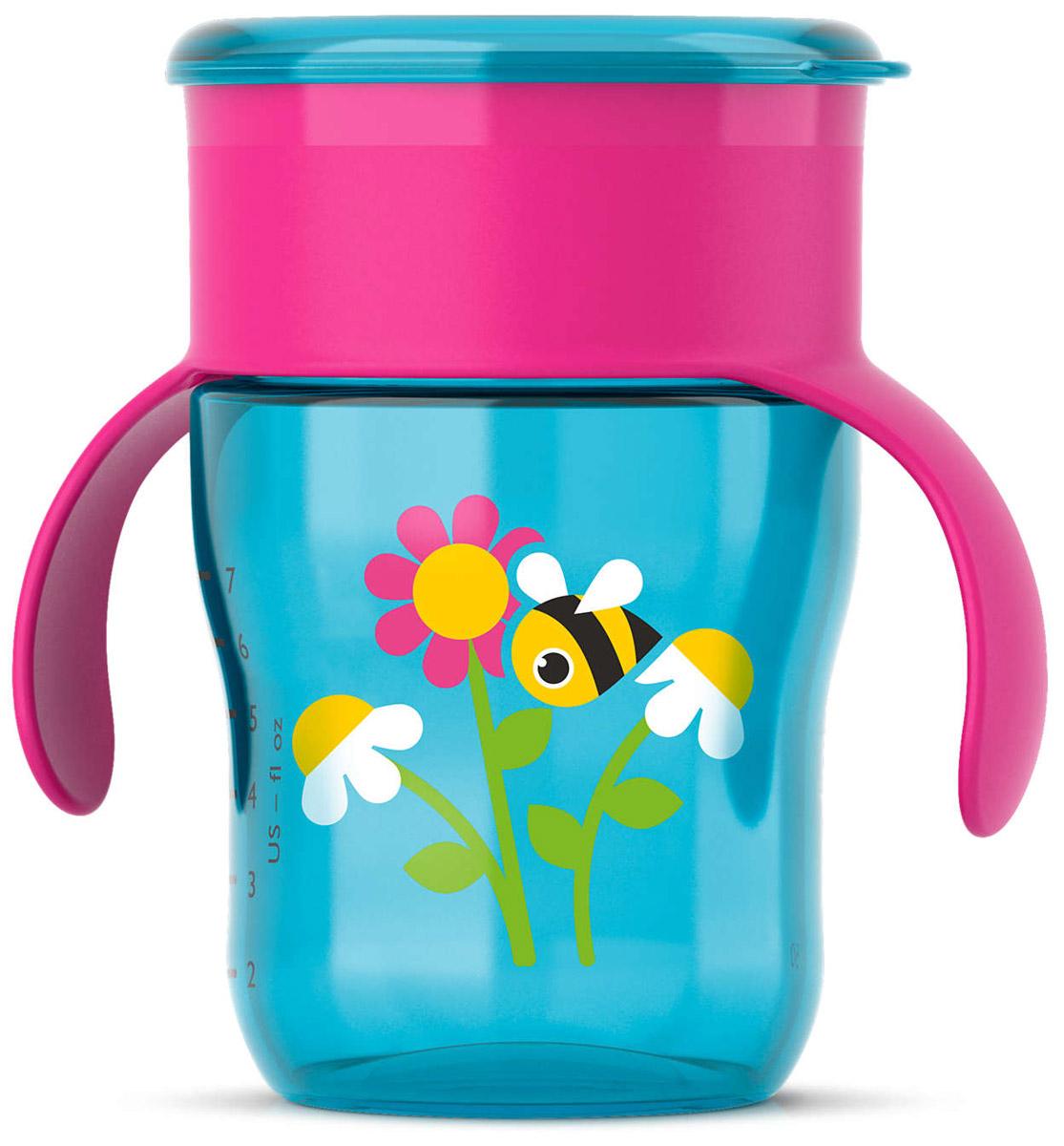 Philips Avent Чашка-поильник от 12 месяцев цвет голубой фуксия 260 мл пчелка SCF782/20 philips avent кружка поильник scf782 с 12 мес