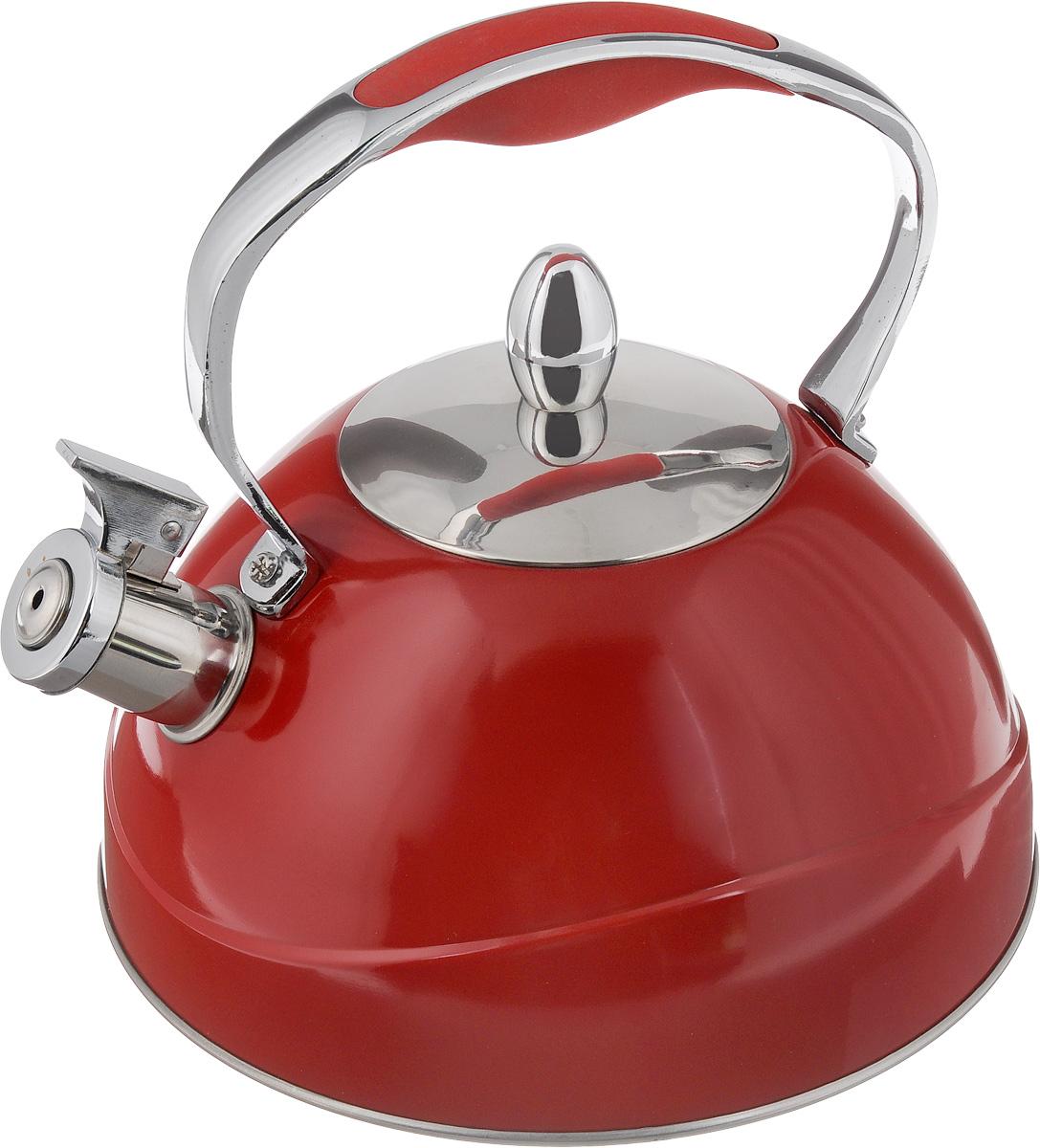 Чайник Mayer & Boch, со свистком, цвет: красный, 2,6 л22416_красныйЧайник Mayer & Boch выполнен из высококачественной нержавеющей стали с матовым покрытием, что делает его гигиеничным и устойчивым к износу при длительном использовании. Нержавеющая сталь не окисляется и не впитывает запахи, напитки всегда ароматные и имеют настоящий вкус. Капсулированное дно с прослойкой из алюминия обеспечивает наилучшее распределение тепла. Носик чайника оснащен насадкой-свистком, что позволит вам контролировать процесс подогрева или кипячения воды. Фиксированная ручка изготовлена из стали с силиконовым покрытием. Поверхность чайника гладкая, что облегчает уход. Эстетичный и функциональный, с эксклюзивным дизайном, такой чайник будет оригинально смотреться в любом интерьере.Подходит для электрических, газовых, стеклокерамических и галогеновых плит. Не подходит для индукционных плит. Можно мыть в посудомоечной машине.Высота чайника (без учета ручки и крышки): 11 см.Высота чайника (с учетом ручки и крышки): 22,5 см.Диаметр чайника (по верхнему краю): 10 см.