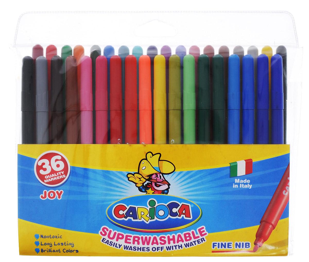 """Набор Carioca """"Superwashable"""" состоит из 36 разноцветных фломастеров, которые отлично подойдут и для школьных занятий и просто для рисования. Фломастеры рисуют яркими насыщенными цветами. Чернила на водной основе легко смываются с кожи и отстирываются с большинства тканей. Корпус фломастеров изготовлен из пластика, а колпачок имеет специальные отверстия, что обеспечивает вентилирование и еще больше увеличивает срок службы чернил и предотвращает их преждевременное высыхание."""