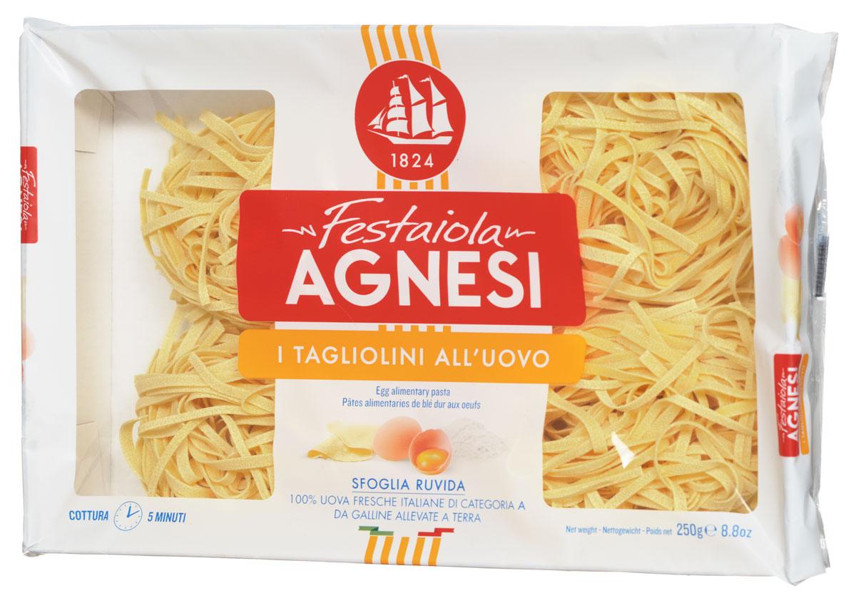 Agnesi Тальолини яичные макароны, 250 г0120710Agnesi - это одна из старейших марок макарон в Италии. С 1824 года в итальянском городе Империя, расположенном на берегу Средиземного моря, семья Agnesi начала производить эти, благодаря своему качеству, широко известные макаронные изделия.Яичные макароны Agnesi демонстрируют неповторимый вкус макаронных изделий, созданных согласно всем канонам итальянской кухни. Если вы подлинный гурман, то вы по достоинству оцените их. Эти макароны не слипаются при готовке и не раскисают. Из них получится прекраснейший гарнир, также они могут стать основой для множества блюд итальянской кухни. Используя Agnesi вы сможете приготовить обед не хуже, чем шеф-повар итальянского ресторана.