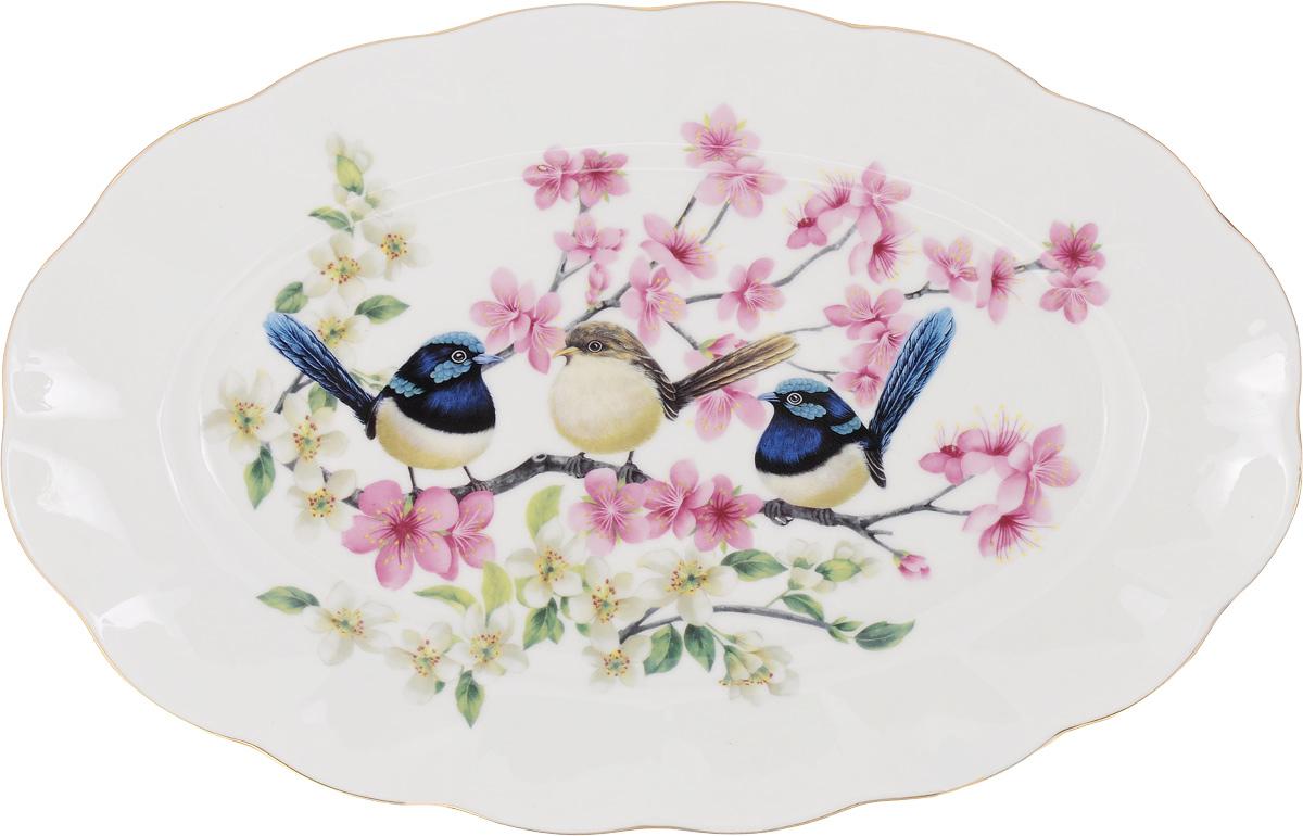 Блюдо Elan Gallery Райские птички, 30 х 19,5 х 2 смVT-1520(SR)Сервировочное блюдо Elan Gallery Райские птички, изготовленное из высококачественной керамики, прекрасно подойдет для подачи нарезок, закусок и других блюд. Изделие, оформленное ярким изображением, украсит ваш праздничный или обеденный стол, а оригинальный дизайн понравится любой хозяйке.Не рекомендуется применять абразивные моющие средства. Не использовать в микроволновой печи.