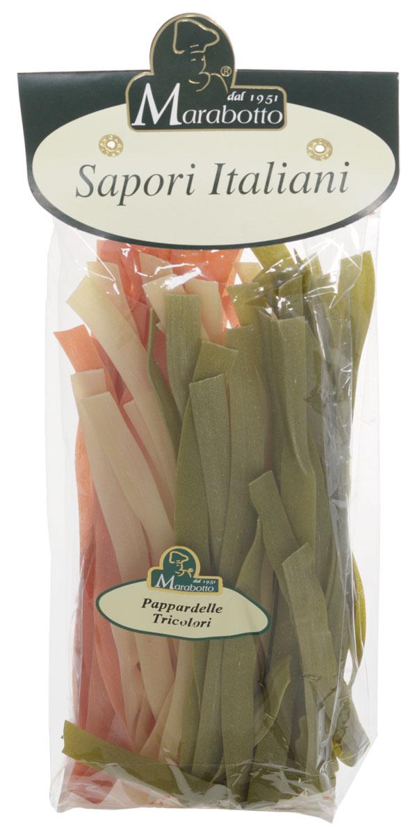 Marabotto Паппарделле триколор макароны, 250 г0120710В состав макарон Marabotto. Sapori Italiani включены популярные в Италии натуральные приправы. В этом заключена их уникальность. Характерные особенности приправ воплощены в удивительных цветах, форме, аромате и вкусе макарон. Уже в процессе варки вы можете почувствовать ароматы чернил моллюска, шпината, и томатов. По вкусу, аромату и внешнему виду эти макароны невозможно перепутать ни с одним другим продуктом!